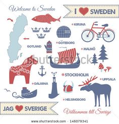 Clip Art of Set with symbols and map of Sweden - Search Clipart, Illustration Posters, Drawings, and EPS Vector Graphics Images - Sweden Map, Sweden Travel, Italy Travel, Learn Swedish, Swedish Girls, Swedish Symbols, Swedish Language, Scandinavian Folk Art, Scandi Art