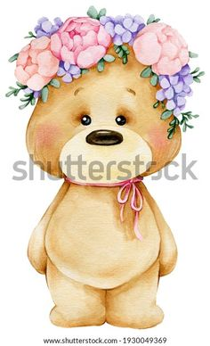 Bear Watercolor, Watercolor Art Lessons, Cute Love Pictures, Cute Animal Pictures, Baby Illustration, Watercolor Illustration, Baby Clip Art, Baby Drawing, Tatty Teddy