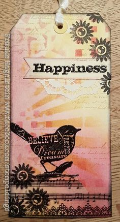 What a gorgeous tag! Student work by Fraukie from my Inventive Ink Colorful Mixed Media Effects class. Newsletter subscribers receive a discount: http://www.marjiekemper.com/newsletter-sign-up
