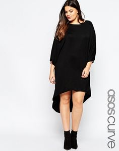 ASOS CURVE Dress With Dipped Hem and Kimono Sleeve