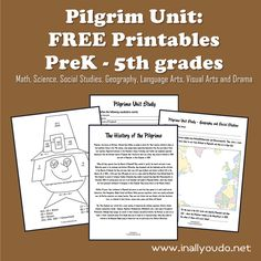 Grab this {free} Pilgrim Unit Study (PreK - 5th grade). Includes Math, Science, Social Studies, Geography, Language Arts, Visual Arts & Drama.