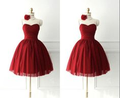 Red Sweetheart Neckline Knee-Length A-line Bowknot Ruched Tulle Lace-up Satin Plus Size Evening Bridesmaid  Prom Homecoming Wedding Dresses on Etsy, $88.00