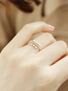 Glistening Golden Pearl Adjustable AD Ring