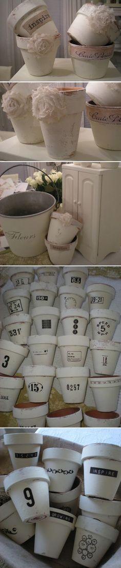 White Chalk Painted Terra Cotta Pots.
