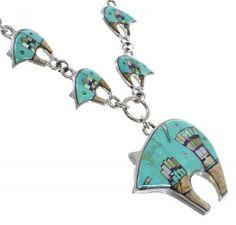 Mesa Design Bear Sterling Silver Multicolor Link Necklace Set