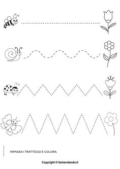 Flower Activities For Kids, Dinosaur Activities, Preschool Learning Activities, Diy Crafts For Kids, Tracing Worksheets, Preschool Worksheets, Handwriting Activities, Busy Boxes, Music And Movement