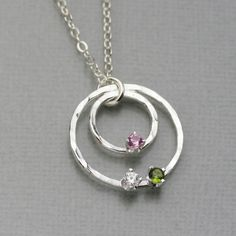 Roxy's Jewelry - Hammered 3 Birthstone Circle Necklace, $56.00 (http://www.roxysjewelry.com/hammered-3-birthstone-circle-necklace/)