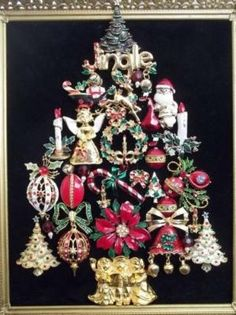 Vintage Framed Jewelry Christmas Tree Picture Santa Ornaments Angel Candles by trisha