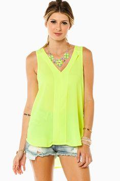 Skylar Tank in Neon Yellow / ShopSosie #neon #yellow #vneck #tank #top #shopsosie #sosie