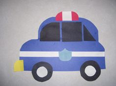 Art projects for police car, ambulance, fire truck, and tow truck.
