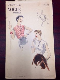 1952 Vogue 7605 scalloped blouse bust 32