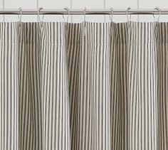 Ticking Stripe Ruffle Shower Curtain Potterybarn Curtains Drapes Farmhouse