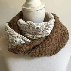 Mocca knit cowl scarf with beautiful white lace lining #infinityscarves #cowlscarf #lacescarves #bohemian #boho #bohochic