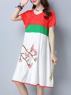 Ethnic Woman Embroidery Loose Short Sleeve Dress