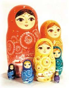 Rainbow Colored 7-piece Russian Wood Nesting Doll