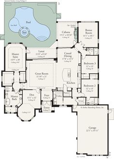 1000 ideas about house plans with pool on pinterest u for Gourmet kitchen floor plans
