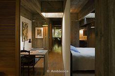 Paulo Mendes da Rocha House,Sao Paulo, Brazil. Architects own residence. Hallway and bedroom