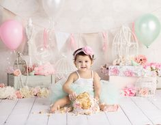 Baby posing in classy pink themed baby cake smash photos by Brandie Narola Photography Baby Cake Smash, 1st Birthday Cake Smash, Baby Girl Cakes, Baby First Birthday, Cake Smash Photography, Birthday Photography, 1st Birthday Pictures, Cake Smash Photos, First Birthdays