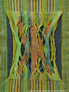Deanna Jill Deeds | 3/1 twill + double-layered sprang | warp: alternates thick wool & thin cotton | middle section: wool left unwoven, cotton makes plain weave background for sprang | Southern California Handweavers' Guild: 2013 Challenge