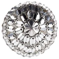 Silver Mirror Beaded Knob