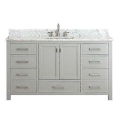Modero Chilled Gray 60 Inch Double Vanity Only Vanities Bathroom Vanities Bathroom Furnit