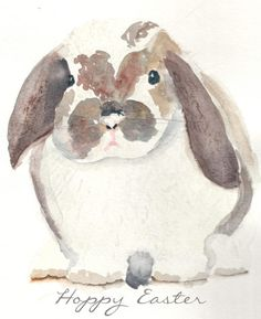 Watercolor Bunny (Free Printable) - Finding Silver Pennies - New Ideas Watercolor Animals, Watercolor Cards, Watercolor Paintings, Watercolors, Easter Paintings, Watercolor Ideas, Hoppy Easter, Easter Bunny, Lapin Art