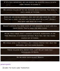 Some of Cullen's war table responses. Dragon Age: Inquisition.