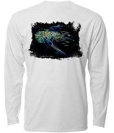 "Southern Cross Apparel ""Ballin'"" performance long sleeve fishing shirt in White."