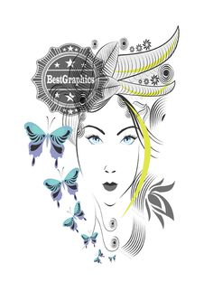 Abstract Woman With Elegant Hair Style And Blue Butterflies