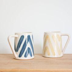 Blue & White Boho Ceramic Coffee Mug by Barombi Studios
