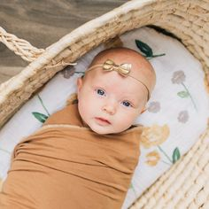 Mustard Muslin Floral Swaddle and Stretchy Knit Swaddle! Baby Couch, Baby Girls, Baby Boy, Baby Swaddle Blankets, Moses Basket, Newborn Pictures, Portrait Ideas, Family Pictures, Baby Fever