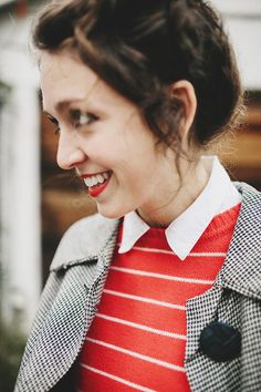 Houndstooth and red cardi