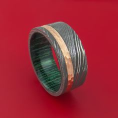 Damascus Steel and Hammered 14k Rose Gold Ring with French Green Hardwood Sleeve Custom Made