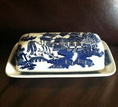 """Blue Willow Ware butter dish.  I would love to have this...but it'd be hard to replace the """"log cabin"""" butter dish that used to belong to my grandparents."""
