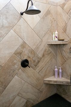 Love the tile placement. Porcelain tile.  Epoxy grout