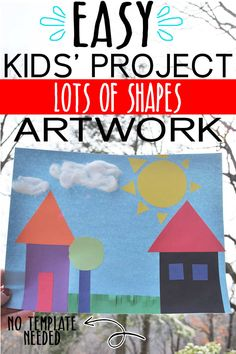 This fun with shapes artwork is a great way for kids to learn shapes, colors, sizes and how to use scissors while also using their imaginations! Diy Crafts For Kids Easy, Summer Crafts For Kids, Craft Projects For Kids, Paper Crafts For Kids, Craft Activities For Kids, Preschool Crafts, Motor Activities, Activity Ideas, Art Projects