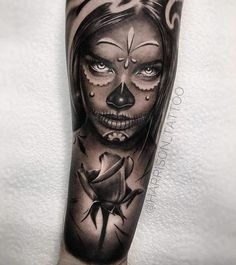 Tattoo Sketches, Tattoo Drawings, Body Art Tattoos, New Tattoos, Girl Tattoos, Skull Girl Tattoo, Sugar Skull Tattoos, Arm Tattoo, La Muerte Tattoo