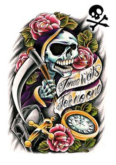 "skull with hour in color pattern ""Time waits for none"""