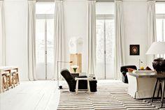 White walls, white curtains.
