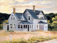 """House on the Cape"" (""Cottage, Cape Cod""), Edward Hopper, oil on board, 11 x 15 Hunter Museum of American Art. Hunter Museum, Edward Hopper Paintings, Ashcan School, American Artists, Cape Cod, Les Oeuvres, Home Art, New York, House Styles"