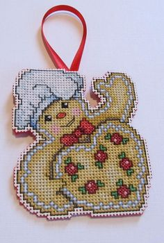 GINGERBREAD COOKIE COUNTED CROSS STITCH CHRISTMAS ORNAMENT