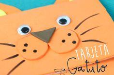 #Tarjetasdeaniversario con forma de gatito  Cómo hacerlo con #GomaEva