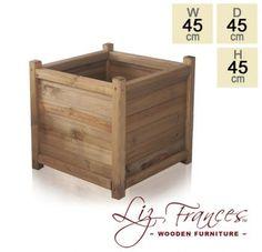 H45cm Wooden Cube Planter by Liz Frances™