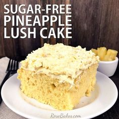 This is a yummy recipe for a sugar-free dessert that's easy to make and has only a few ingredients! Perfect for diabetics! Light and moist Sugar free Pineapple Lush Cake! Sugar Free Deserts, Sugar Free Recipes, Sugar Free Cakes, Sugar Free Yellow Cake Recipe, No Sugar Desserts, Sugar Free Baking, Flour Recipes, Cooking Recipes, Diabetic Friendly Desserts