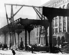 Construction started for the Lake Street elevated train tracks on Market Street, near Madison, in 1896.