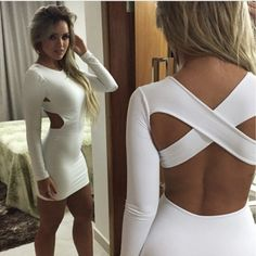 Sexy O Neck Long Sleeves Crossed Backless White Blending Sheath Mini Dress