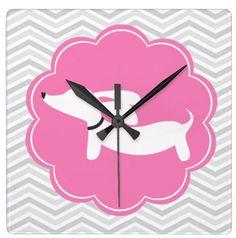Pink & Gray Chevron Dachshund Wall Clock