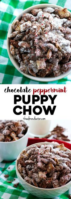 A holiday twist on the classic recipe, this chocolate PEPPERMINT Puppy Chow is filled with candy cane pieces. YUM!