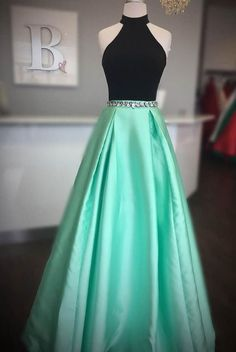 Prom Dress Princess, Elegant High Neck Two Piece Black and Mint Green Long Prom Dress Shop ball gown prom dresses and gowns and become a princess on prom night. prom ball gowns in every size, from juniors to plus size. Pretty Prom Dresses, Elegant Bridesmaid Dresses, Open Back Prom Dresses, Hoco Dresses, Tulle Prom Dress, Dance Dresses, Ball Dresses, Cute Dresses, Dress Outfits
