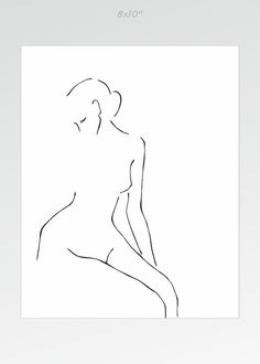 Minimalist art print for bedroom. Feminine nude figure by siret